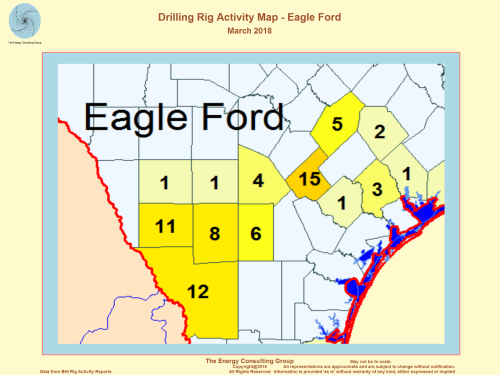 US Drilling Rig Activity Map-Eagle Ford