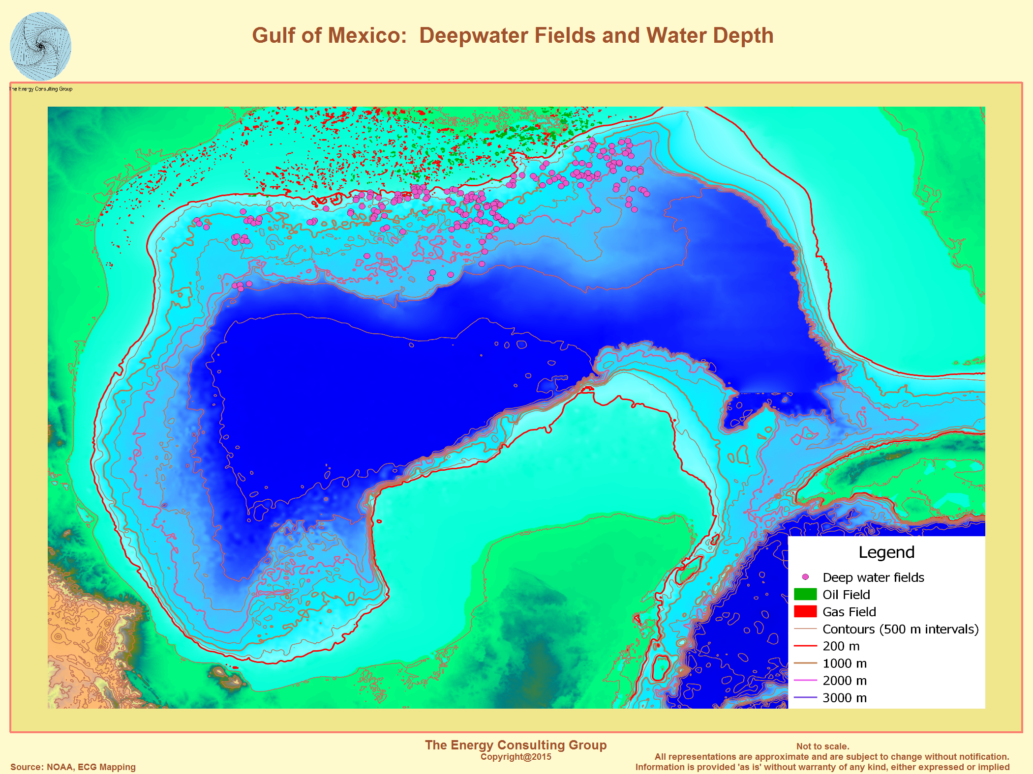 The Upstream Oil And Gas Industry In The Gulf Of Mexico - Water depth map