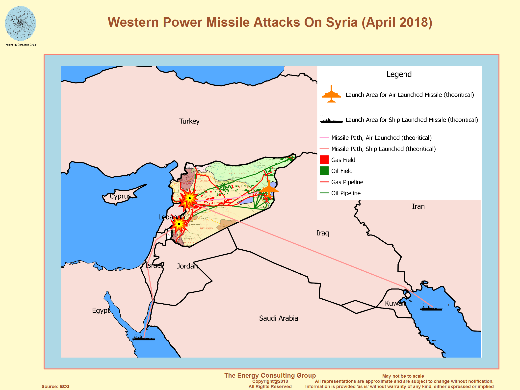 Syria oil and gas overview map western power missile attacks on syria april 2018 gumiabroncs Choice Image