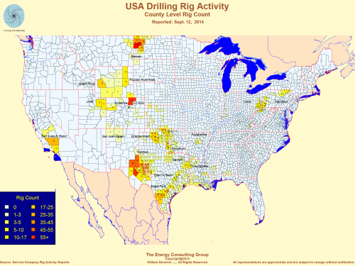 USA oil and gas drilling heat/activity/rig count map; fall/September 2014