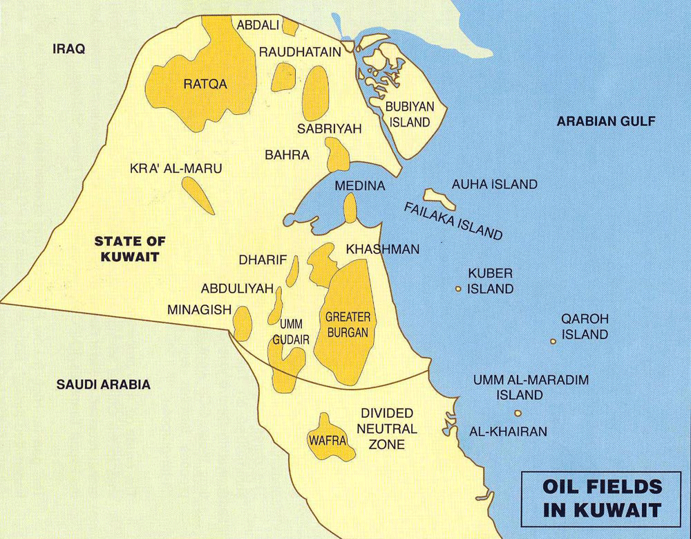 Map of oil fields in Kuwait