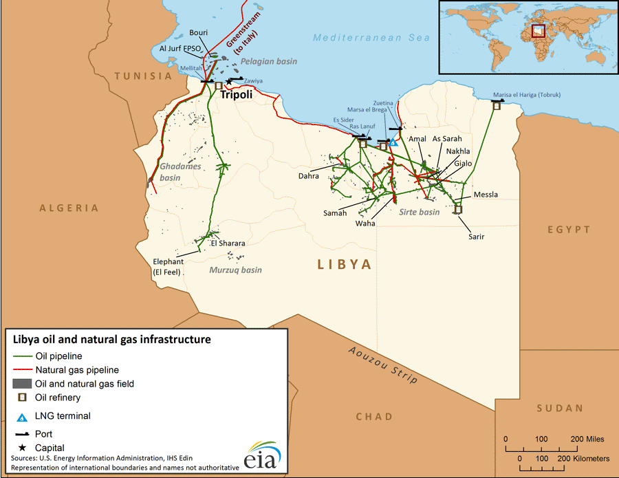 Map of Libya's oil and natural gas infrastructure