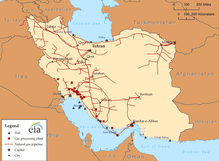 Map of Iran's natural gas infrastructure1s