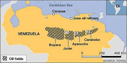 Map Showing Oil Fields In Venezuela
