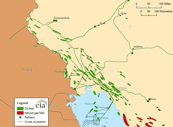 Map of Iran's largest oil fields