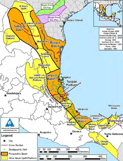 MexicoMajor NonOPEC Oil Producer - Us natural gas reserves map