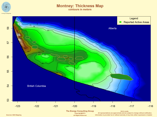 Montney: Thickness Map