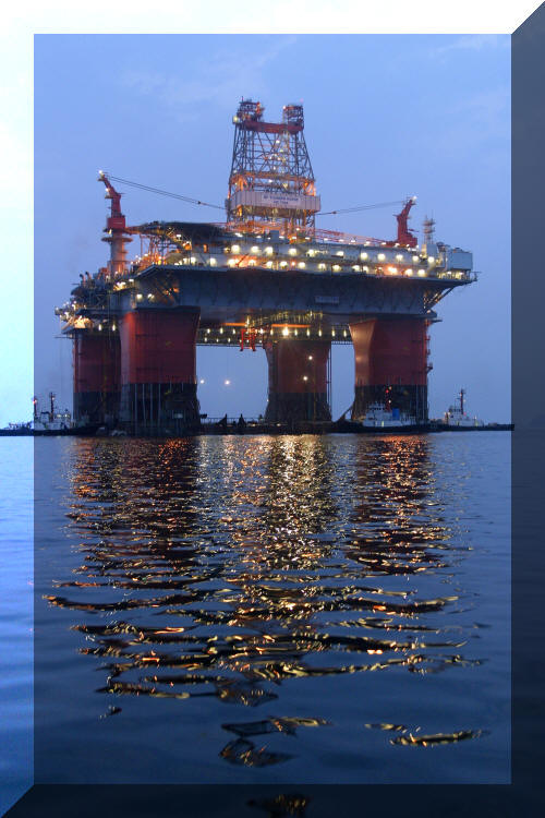 Image: Thunder Horse:  Giant tension leg platform (TLP) at night in Gulf of Mexico
